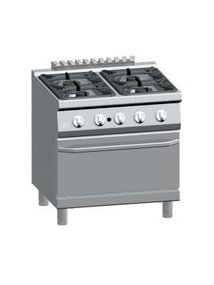 Fornuis gas 4-bek met gas oven GN2/1 ATA